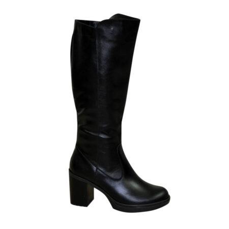 Сапоги кожаные зима осень женские на устойчивом каблуке, цвет черный