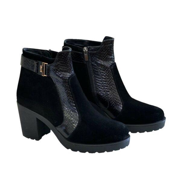 Ботинки женские зимние на устойчивом каблуке, натуральная кожа питон и замша