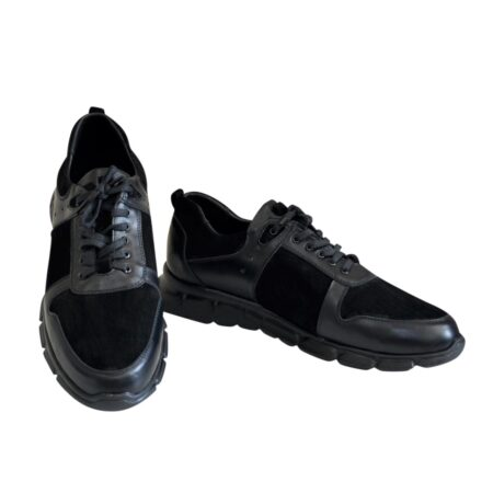 Кроссовки мужские из натуральной кожи и замши, на шнуровке