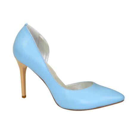 Женские голубые кожаные туфли на шпильке
