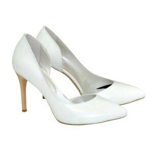 Белые женские свадебные туфли на шпильке кожаные