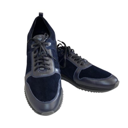 Кроссовки мужские из натуральной кожи и замши синего цвета, на шнуровке