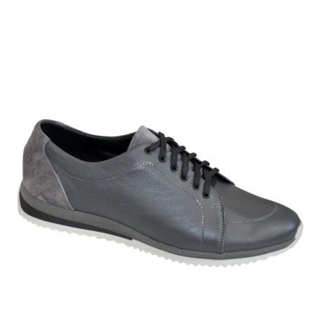 Кроссовки серые мужские на шнуровке, натуральная кожа и замша