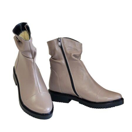 Ботинки женские кожаные зима осень, цвет визон