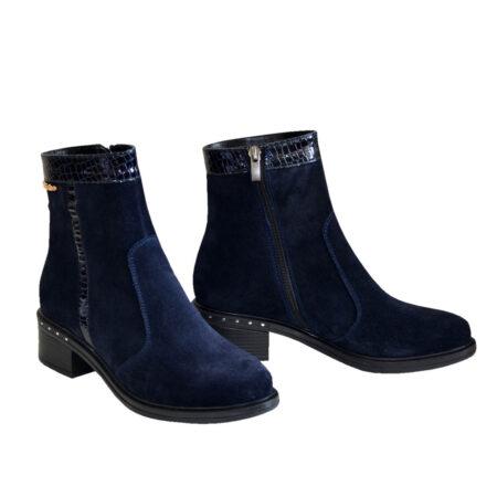 Ботинки женские из натуральной кожаной замши зима-осень на удобном невысоком каблуке,цвет синий