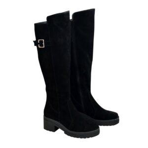 Сапоги ботфорты черные женские зимние замшевые на устойчивом каблуке, осень зима