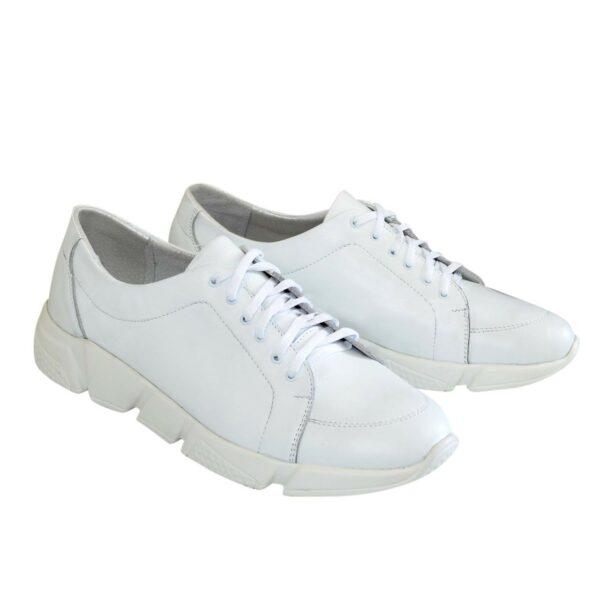 Мужские кожаные белые кроссовки на шнуровке