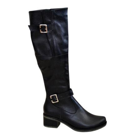 Сапоги ботфорты женские зима осень из натуральной черной кожи, на широком каблуке