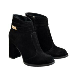 замшевые женские ботинки зима-осень на широком каблуке, цвет черный