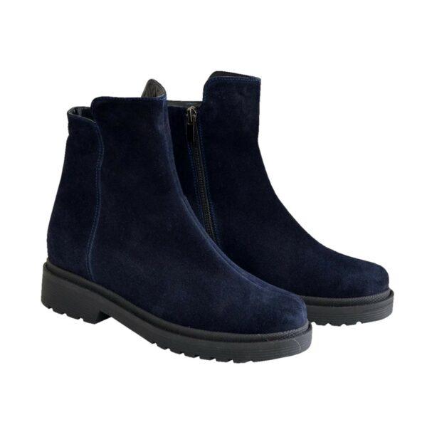 Ботинки женские замшевые зимние на маленьком каблуке, цвет синий