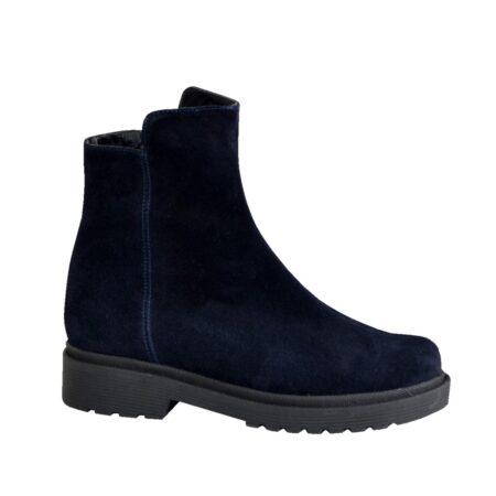 замшевые стильные женские ботинки на низком ходу осень-зима,цвет синий