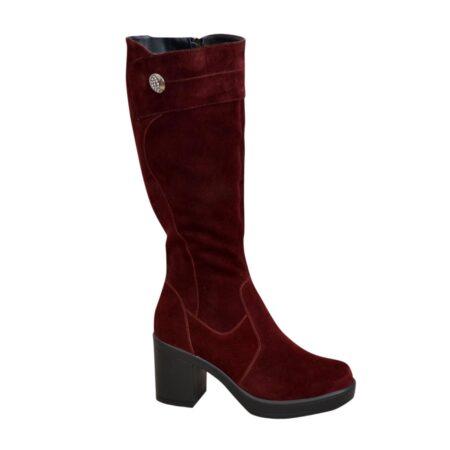 Сапоги женские замшевые на устойчивом каблуке, цвет бордо