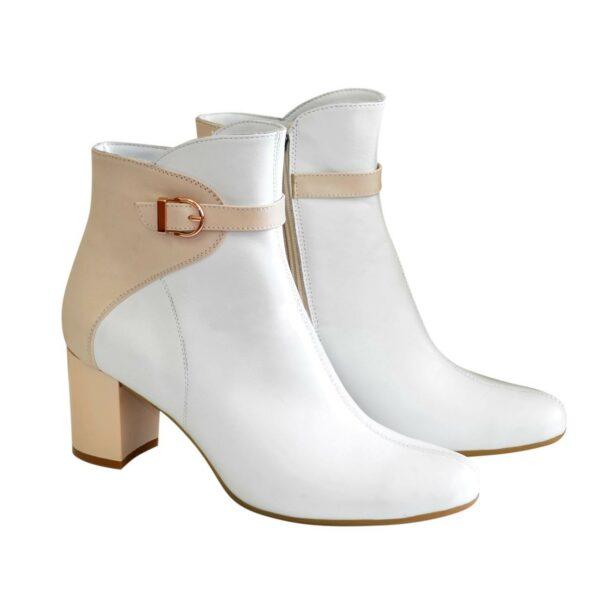 Женские кожаные зимние ботинки на невысоком каблуке, цвет белый/бежевый