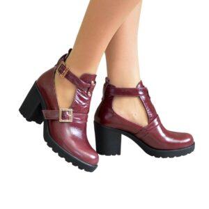 Ботильоны женские открытые кожаные бордового цвета на каблуке