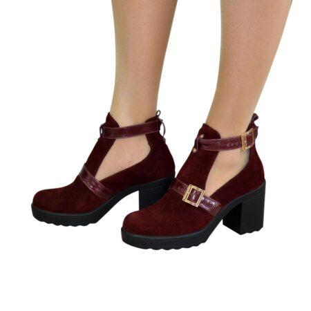 Ботильоны женские полуоткрытые замшевые бордовые на устойчивом каблуке