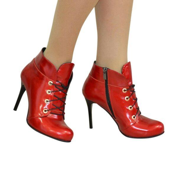 Ботинки зимние женские на шпильке, натуральная лаковая кожа