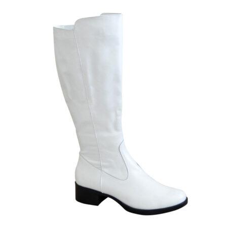 Сапоги женские с широким голенищем-баталы кожаные зима осень, на невысоком каблуке, цвет белый