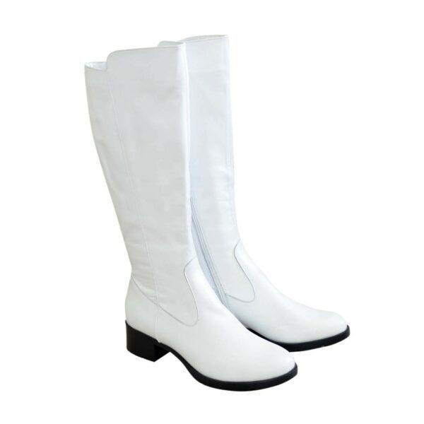 Сапоги женские кожаные зимние на невысоком каблуке, цвет белый
