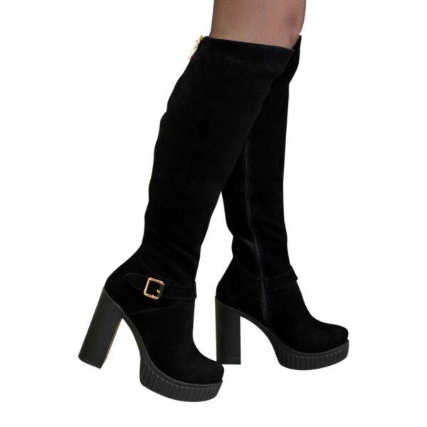 Сапоги женские зимние на высоком каблуке, из натуральной замши черного цвета