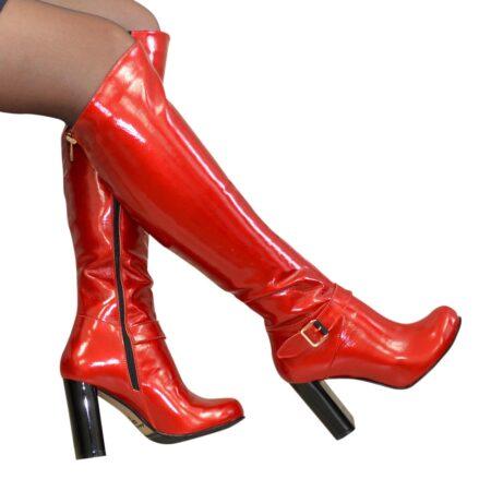 Ботфорты красные из натуральной лаковой кожи на высоком устойчивом каблуке, осень зима