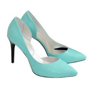 Женские туфли на шпильке из натуральной кожи цвет мята
