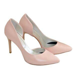 Кожаные женские туфли на шпильке цвет пудра