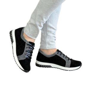 Кроссовки женские, мягкие замшевые черно-серого цвета