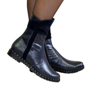 женские кожаные ботинки с замшевыми вставками на удобном невысоком каблуке, зима-осень  ,цвет синий