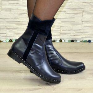 Ботинки женские кожаные с замшевыми вставками, цвет синий, каблук удобный невысокий/ осень зима