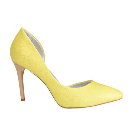 Желтые женские туфли на высокой шпильке из натуральной кожи