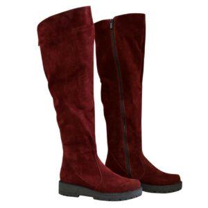 Ботфорты женские зима осень на утолщенной подошве из замши бордового цвета