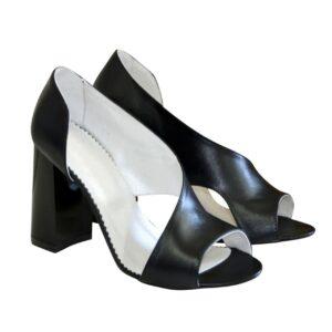 Босоножки женские из натуральной кожи черного цвета, на устойчивом каблуке 9.5 см