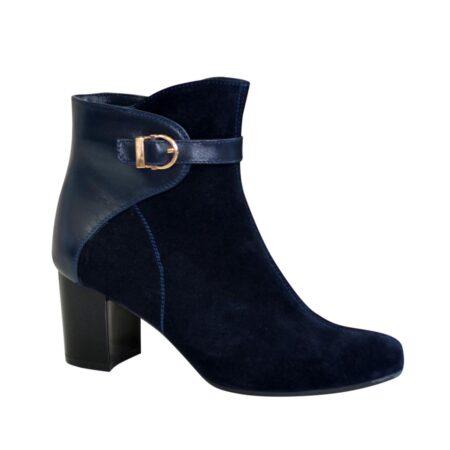 ботинки женские зима осень из натуральной замши комбинированные кожей синего цвета