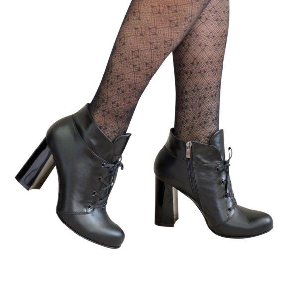 Ботинки зимние женские на устойчивом каблуке, натуральная кожа