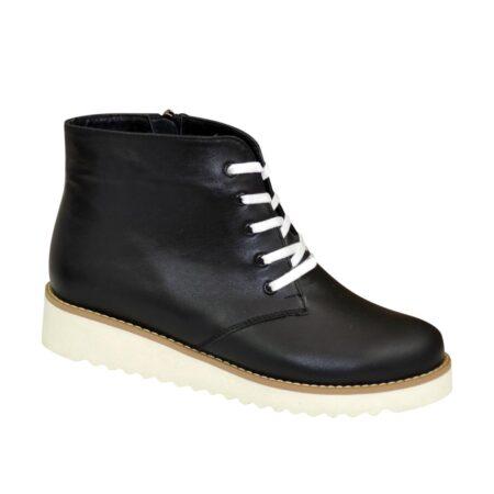 Ботинки зима осень женские черные кожаные на шнуровке, утолщенная белая подошва
