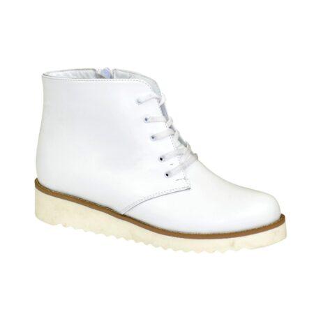 Белые кожаные женские ботинки на шнуровке, утолщенная подошва