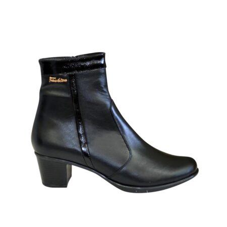 Женские ботинки зима-осень на удобном невысоком каблуке, натуральная кожа и лаковая кожа
