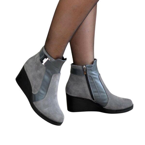Ботинки женские зимние на платформе, натуральная замша и кожа серого цвета