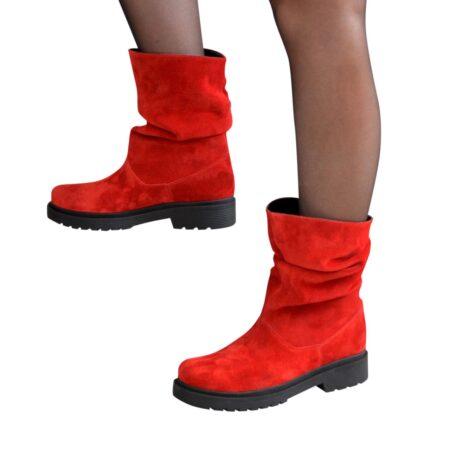 Ботинки женские свободного одевания из натуральной замши красного цвета, зима осень