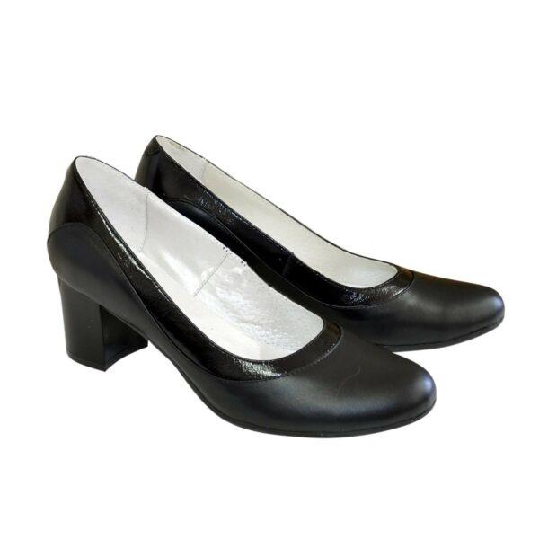 Туфли женские на невысоком устойчивом каблуке, натуральная кожа и лак