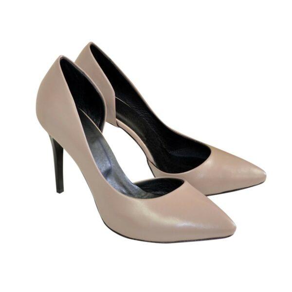 Женские туфли на шпильке, из натуральной кожи цвета визон