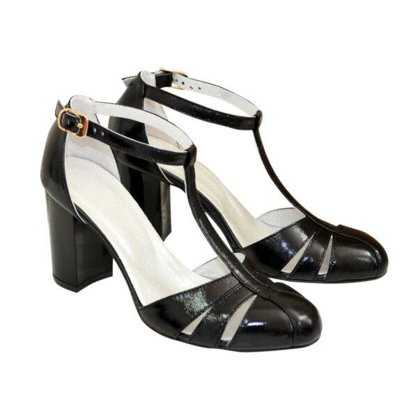 Женские лаковые босоножки на высоком устойчивом каблуке