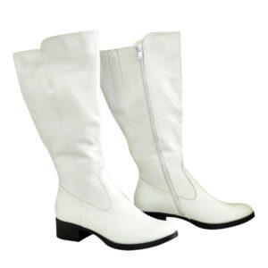 Сапоги женские кожаные белые  с широким голенищем-баталы, на невысоком каблуке каблуке