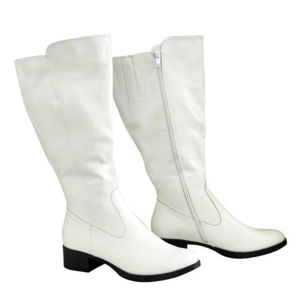 Сапоги женские кожаные на невысоком каблуке, цвет белый