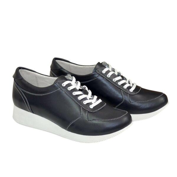 Стильные женские туфли на шнуровке, из натуральной кожи синего цвета