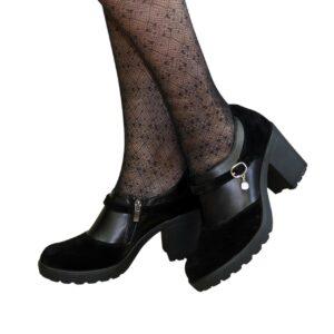Туфли женские на устойчивом каблуке из кожи и замша черного цвета