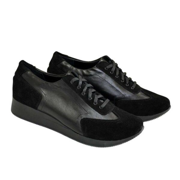 Туфли -кроссовки на утолщенной подошве, из натуральной замши и кожи черного цвета