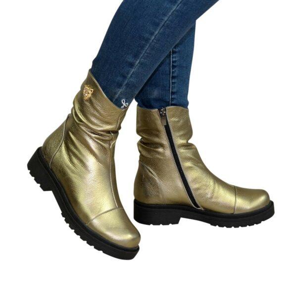 Ботинки женские зимние на утолщенной подошве, из натуральной кожи бронзового цвета
