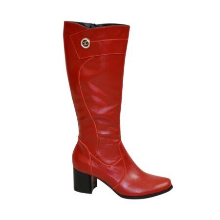 Сапоги зима осень кожаные на невысоком устойчивом каблуке, цвет красный