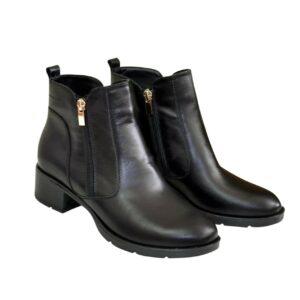 Ботинки черные женские кожаные осень зима, на каблуке